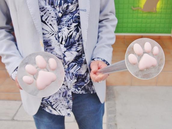 コンクリートに足跡をつけるための猫の肉球の型