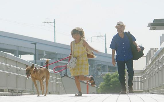 映画「駅までの道をおしえて」女の子と雑種犬のお散歩