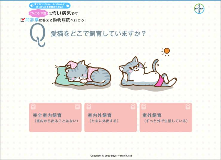 バイエル薬品_猫のフィラリア症問診票web画面