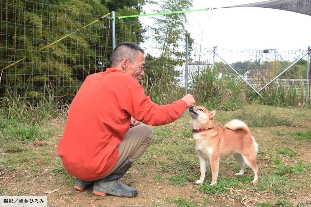 柴犬の鼻先に手をやる北村紋義さん(ポチパパ)さん