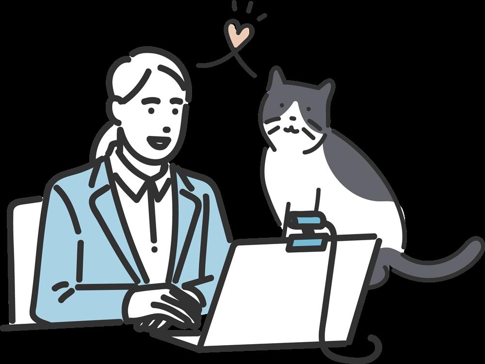 オンラインで検定を受ける飼い主と猫のイラスト